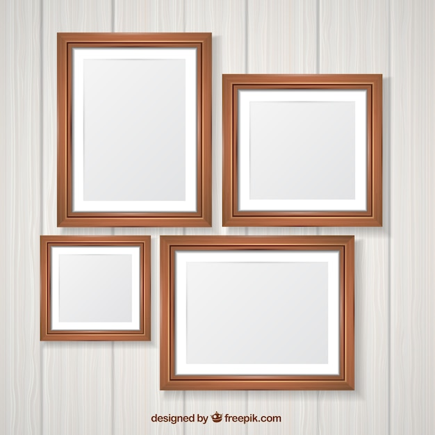 Wooden photo frame pack Free Vector