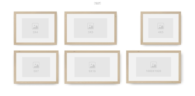 Wooden photo frame or picture frame for interior design and decoration Premium Vector