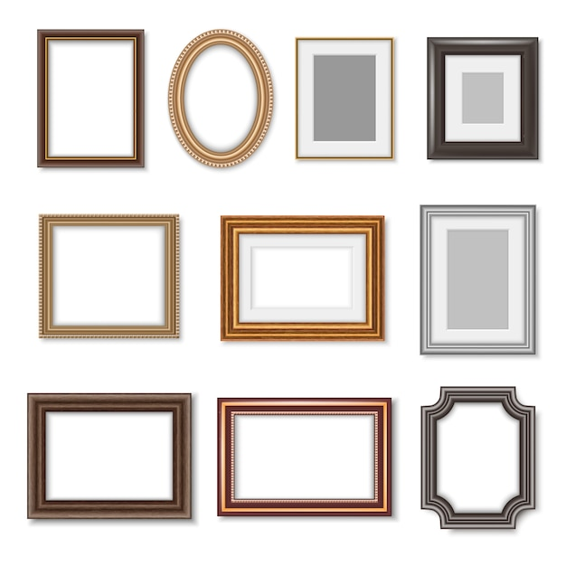 Wooden photo frames and picture golden borders Premium Vector