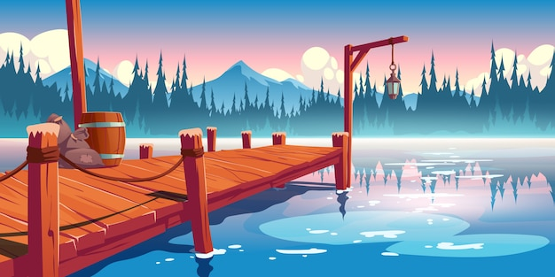 Wooden pier on lake, pond or river landscape, wharf with ropes, lantern, barrel and sacks on picturesque background with clouds, spruces and mountains reflection in water. cartoon illustration Free Vector