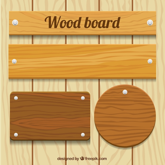 Wooden plaque pack Free Vector