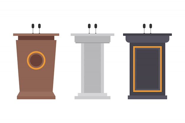 Wooden podium tribune illustration isolated on white Premium Vector