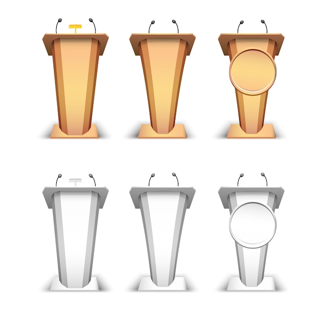 Wooden podium and white tribune. rostrum stand with microphones and lamp  on white background Premium Vector