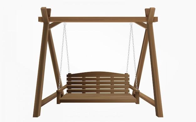 分離された木製のポーチスイングベンチ吊り 無料ベクター