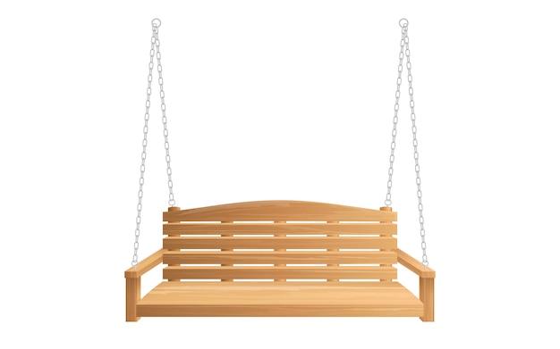 チェーンに掛かっている木製のポーチスイングベンチ 無料ベクター