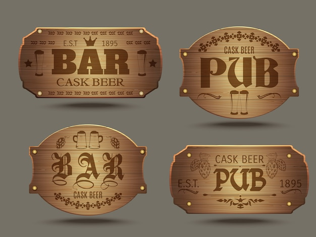 Wooden pub bar signs set Free Vector