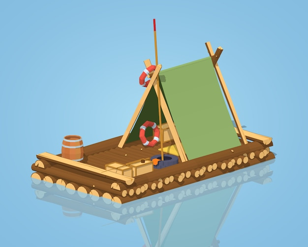 Wooden raft Premium Vector