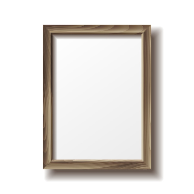 Wooden rectangular photo frame with shadow. Premium Vector