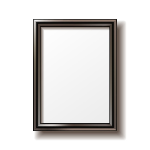 Wooden rectangular photo frame with shadow. Premium Vector