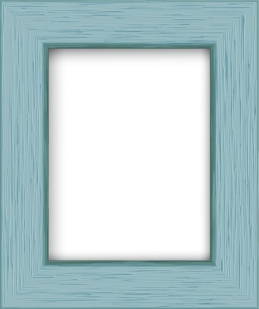 Wooden rectangular photo frame. Premium Vector