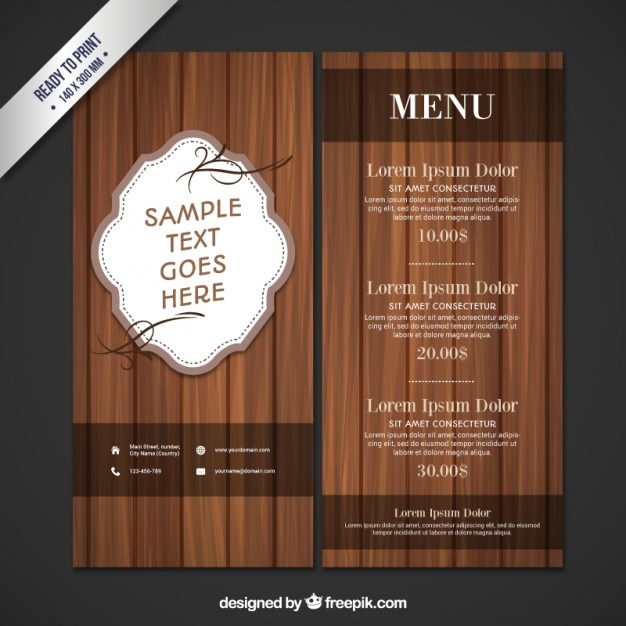Wooden restaurant menu Free Vector