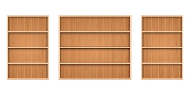 Wooden shelf isolated Premium Vector