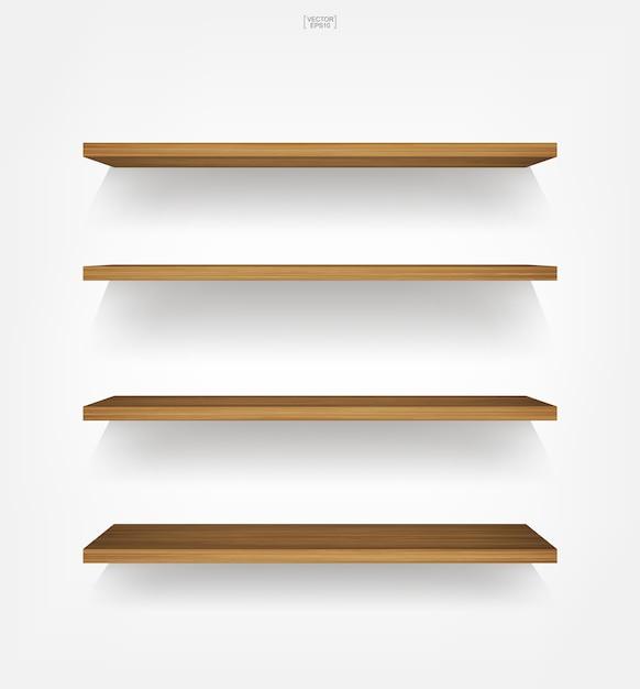 Wooden shelf on white background. Premium Vector