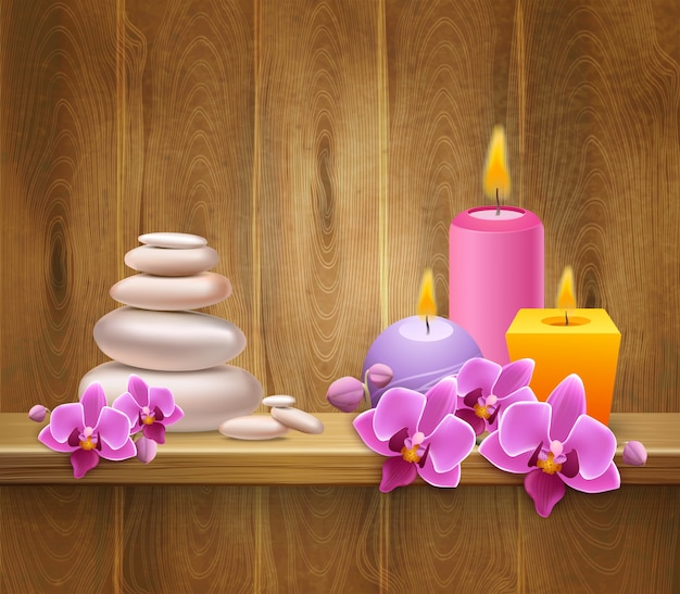 Wooden shelf with balancing stones and candles Free Vector