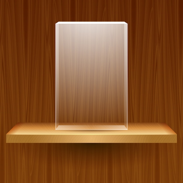 Wooden shelf with empty glass box Premium Vector