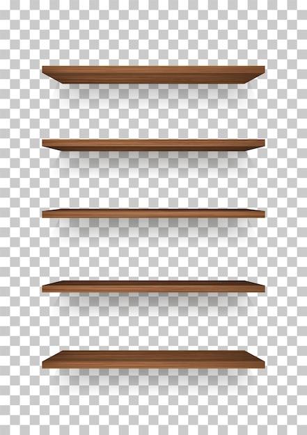 Wooden shelf. Premium Vector