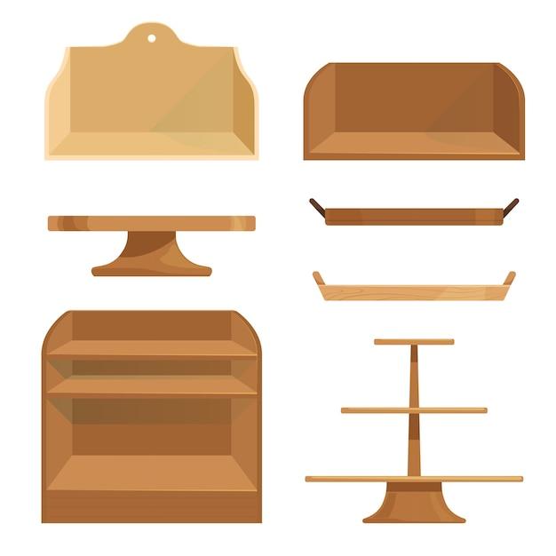 Деревянные полки, ящики и подставки для хранения предметов или демонстрации товаров. Premium векторы