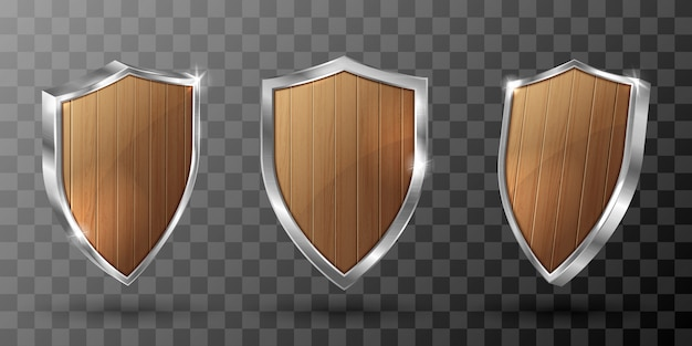 Wooden shield with metal frame realistic trophy Free Vector