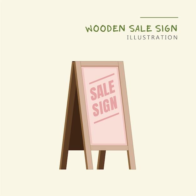 Знак продажи деревянного магазина Premium векторы