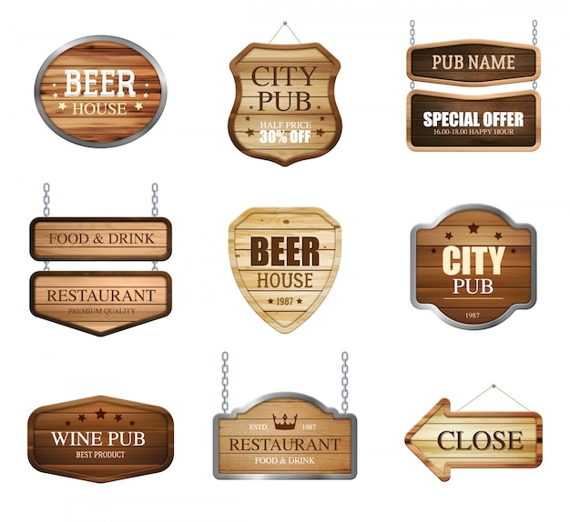 Wooden shop signs collection Free Vector