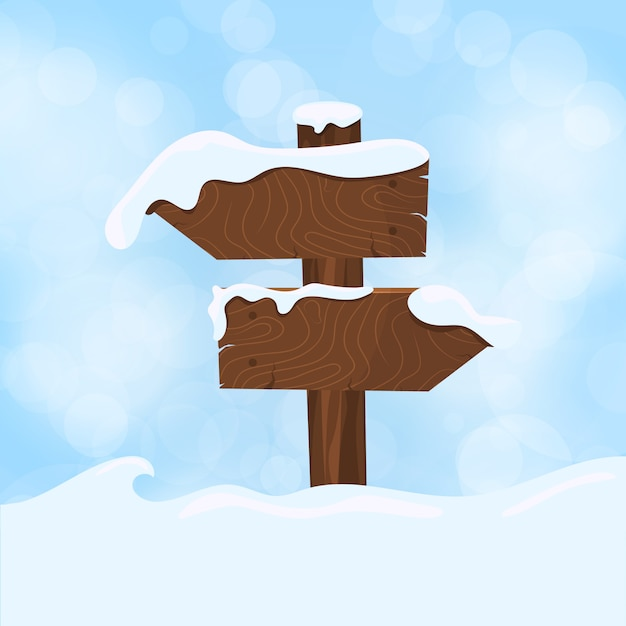 Wooden sign blank board and winter snow with copy Premium Vector
