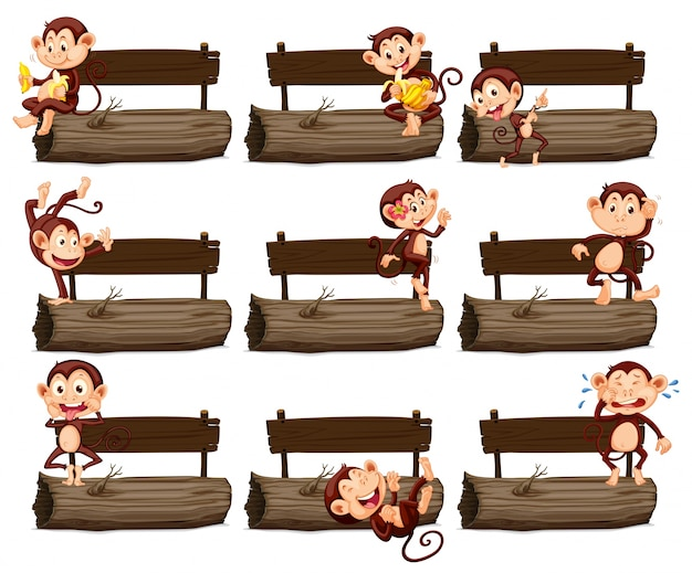 Wooden sign and many monkeys on log illustration Free Vector