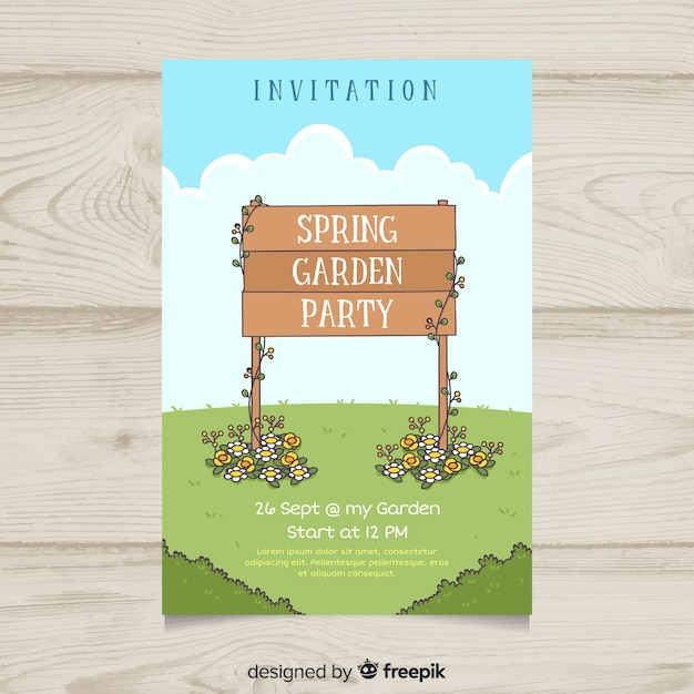Wooden sign spring party poster template Free Vector