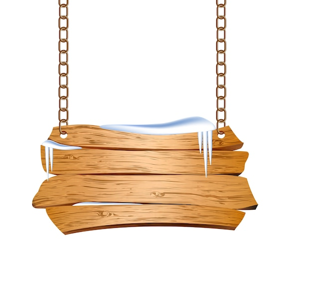 Wooden sign suspended on chains.  illustration Premium Vector