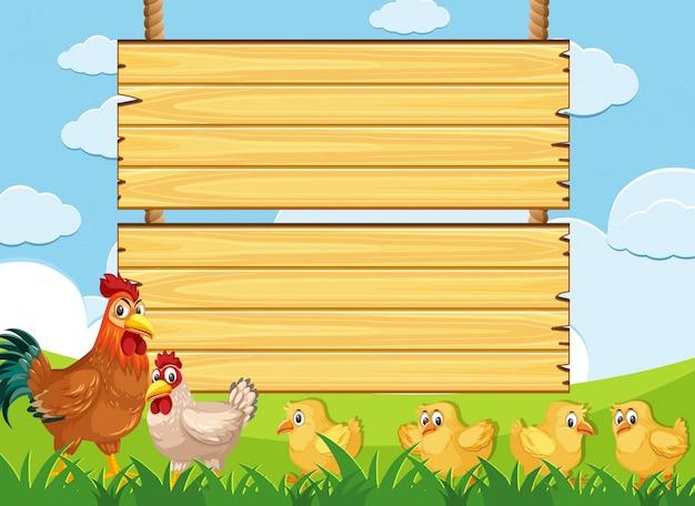 농장에서 닭과 나무 기호 서식 파일 프리미엄 벡터