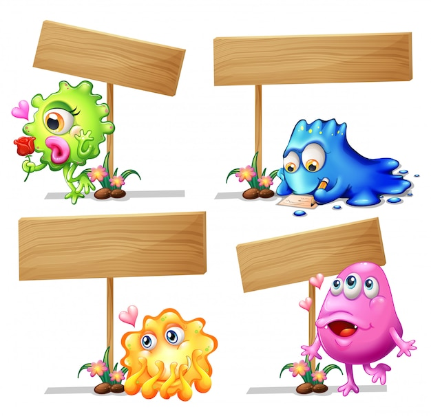 Wooden sign template with monsters Free Vector