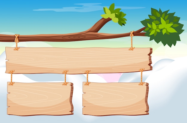 Wooden sign template with sky in Free Vector