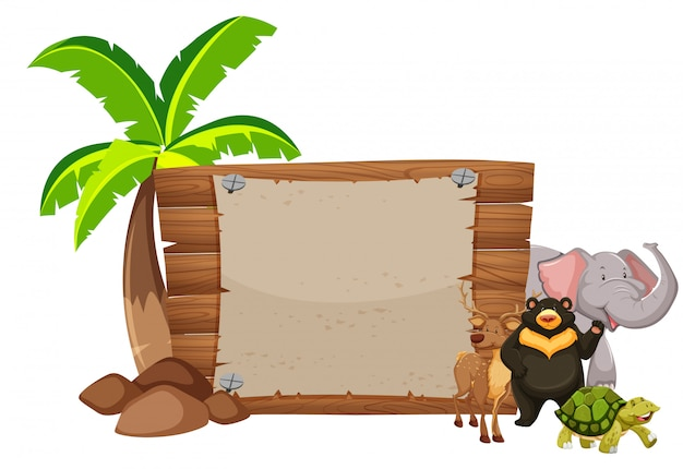 Wooden sign and wild animals Free Vector