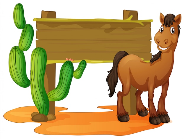 Wooden sign and wild horse in desert Free Vector
