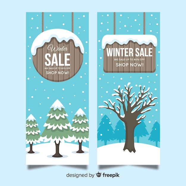 Wooden sign winter sale banner Free Vector