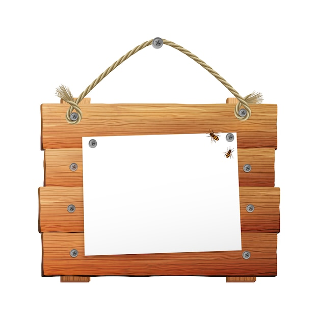 Wooden sign with rope Free Vector