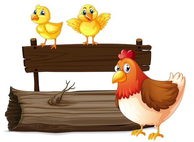 Wooden sign with two chicks and hen Free Vector