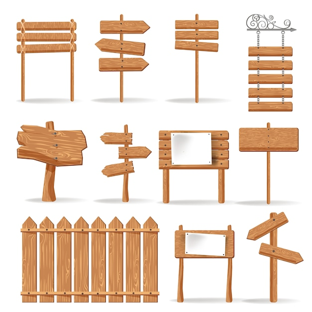 Wooden signages and direction signs vector icons set Premium Vector