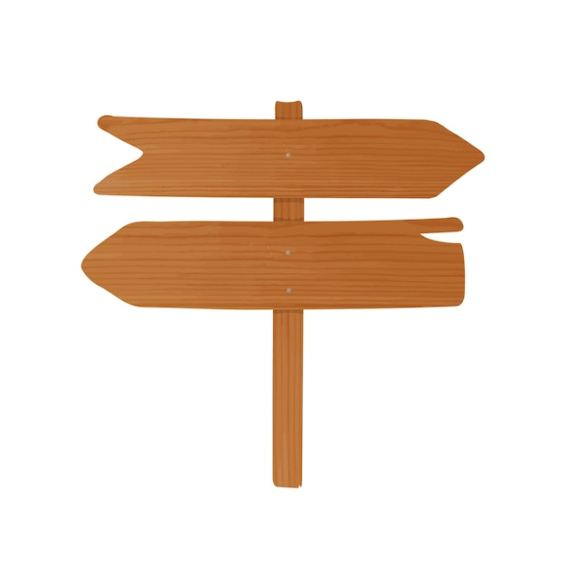 Wooden signboard or guideboard made of pointed planks and pole nailed together. empty signpost with arrows isolated. cartoon decorative design element Premium Vector