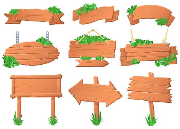 잎을 가진 나무 간판입니다. 열 대 나무 보드, 녹색 레이블 기호 및 정글 숲 포인터 보드 벡터 세트에 Leafs. 식물로 자란 푯말, 도표 및 교수형 배너 모음. 프리미엄 벡터