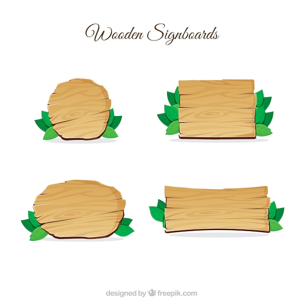 Wooden signboards pack Free Vector