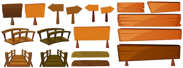 Wooden signs and bridges Free Vector