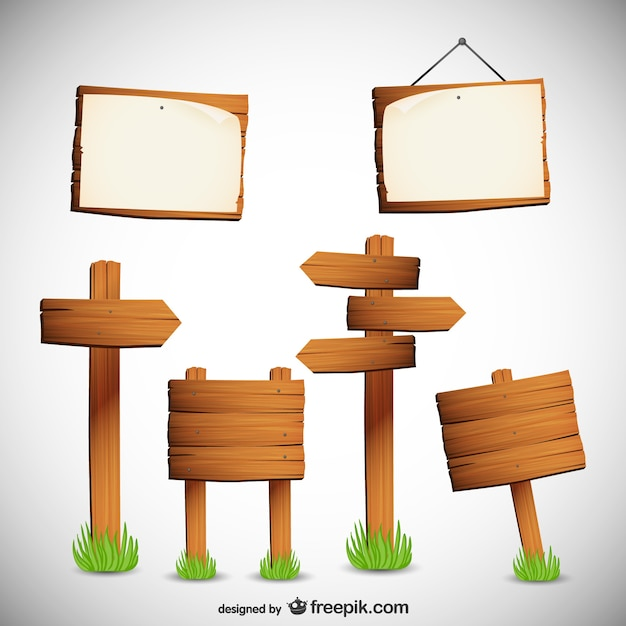 Wooden signs collection Free Vector