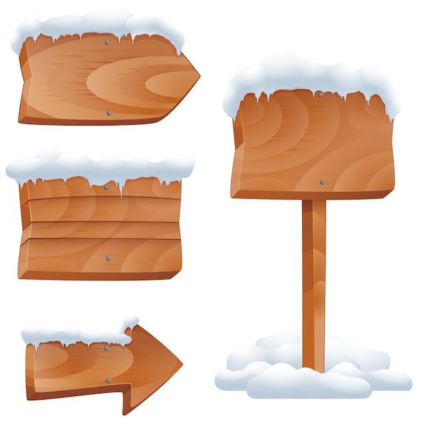 눈 벡터 세트에 나무 간판입니다. 빌보드 화살표, 겨울 빈 게시물. 눈 벡터 일러스트와 함께 나무 간판 무료 벡터