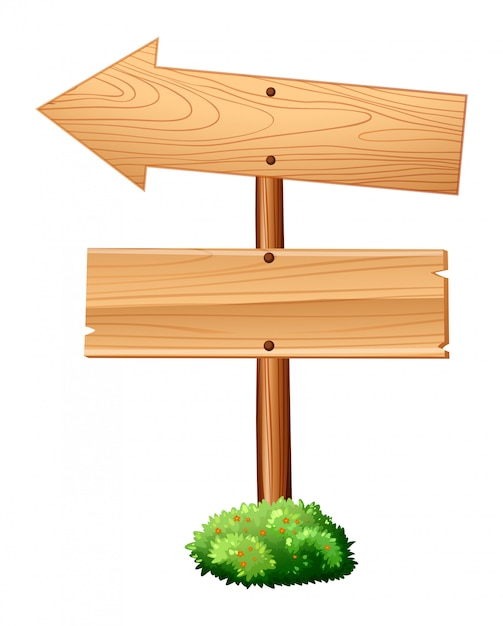 Wooden signs on pole Free Vector
