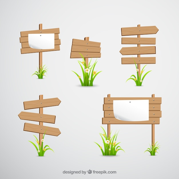 Wooden signs Free Vector