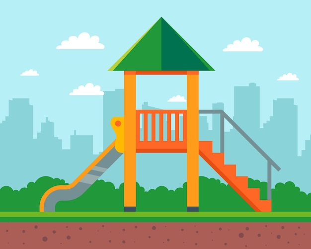 Wooden slide for children in the yard of the house. playground in kindergarten.   illustration. Premium Vector