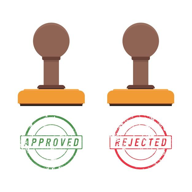 木製スタンパーとスタンプマーク、承認済みテキストと拒否済みテキスト Premiumベクター