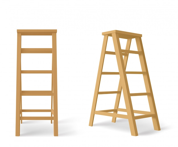 Wooden stepladder, tall stair with stand for tray Free Vector