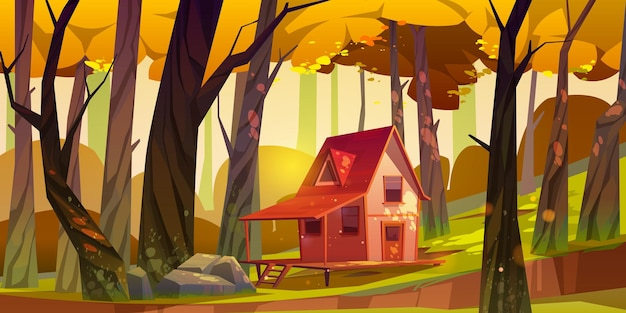 Wooden stilt house in autumn forest. old shack with terrace on piles in deep wood with falling sun beams among fall trees. Free Vector
