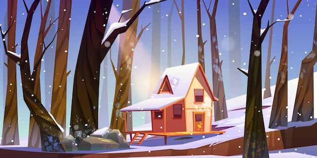 Wooden stilt house in winter forest Free Vector